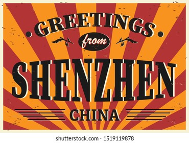 Postcard with text Greetings from Shenzhen on white, vector