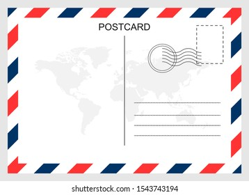 Postcard, travel blank card isolated on background. Modern graphic design