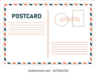 Postcard travel vector in air mail style with paper texture and rubber stamps on white background. Vector illustration.