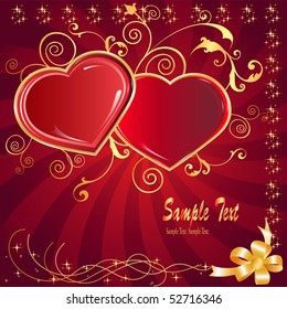 postcard two hearts and love holiday on every day