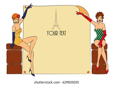 Postcard with two pin-up girls. Perfect for put your text. Vector illustration