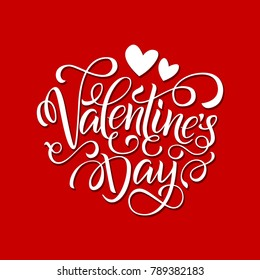 Postcard with a unique lettering for Valentine's Day. Vector illustration with isolated elements