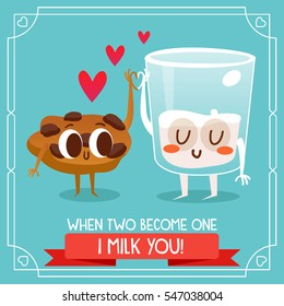 Postcard Valentine's Day. Cartoon glass of milk with pieces of cookies cartoon. Comic food. Illustration with funny characters. Love and hearts.