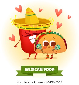 Postcard Valentine's Day. Illustration with funny characters. Love and hearts.Mexican traditional food. Red and hot! chili pepper and tacos with funny cartoon face
