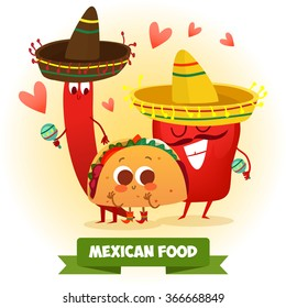 Postcard Valentine's Day. Illustration with funny characters. Love and hearts.Mexican traditional food. Red and hot! chili pepper and tacos with funny face.
