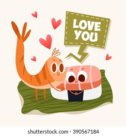 Postcard Valentine's Day. Illustration with funny characters. Love and hearts. Japanese traditional cuisine illustration. Cute sushi character. Japanese food.