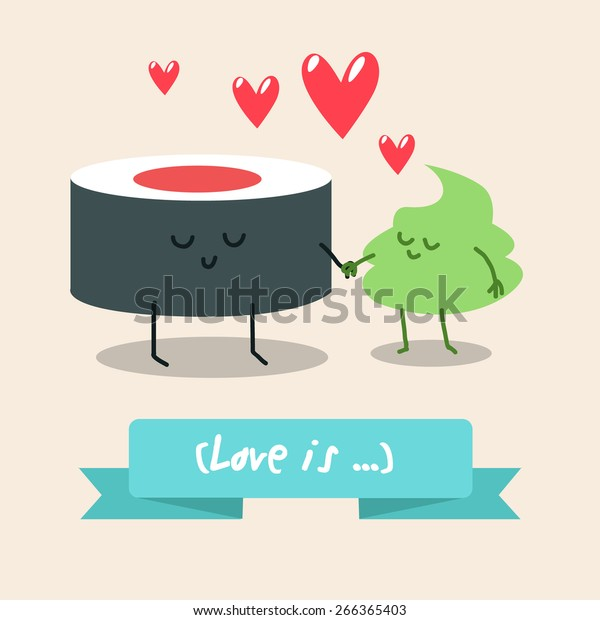 Postcard Valentines Day Illustration Funny Characters Stock Vector Royalty Free 266365403