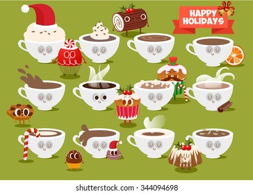 Postcard Valentine's Day. Set Cup of coffee with pieces of cookies. Comic food. Illustration with funny characters for Christmas in cartoon style. Love and hearts.
