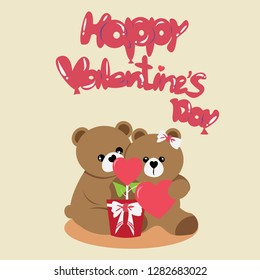 Postcard valentine's day with Teddy Bear Lovers on cream background.