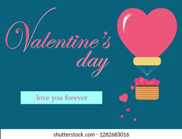 Postcard of valentine's day,Balloon floating on blue background.