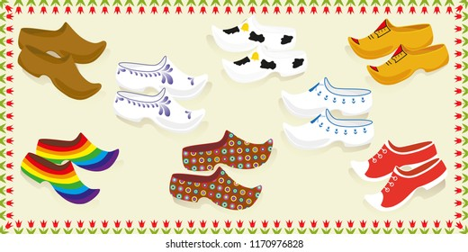Postcard vector with set of traditional wooden shoes.