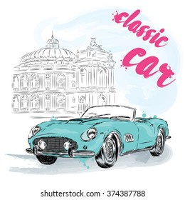 Postcard with a vintage car. Vector illustration for greeting card, poster, or print on clothes.