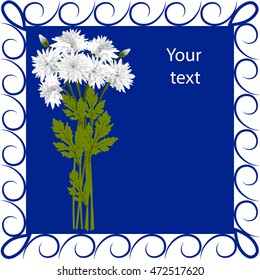 Postcard white chrysanthemums