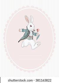 postcard white rabbit from Alice in Wonderland
