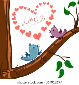 postcard whith blue bird greeting happy Valentine day / Vector illustration / cartoon style / can be used for printed materials, textiles