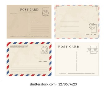 Postcards with blank writing area on white background. Set of vintage postcard template.