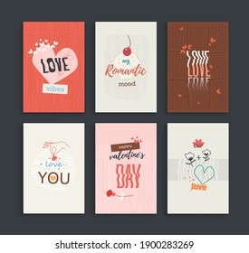 Postcards collection for St. Valentives Day or any romantic celebration, date. Graphic concept, banner, template, flyer, background.