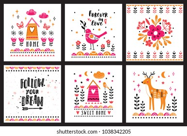 Postcards with cute illustrations in scandinavian style. Collection for children's prints, greetings, posters, t-shirt, packaging.