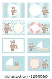 "Postcards with ""little seaman"" design. Can be used for baby shower, birhday party"