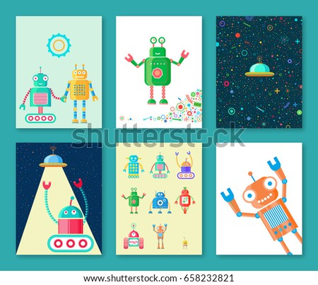 Postcards Retro Robots Stock Vector (Royalty Free) 658232821