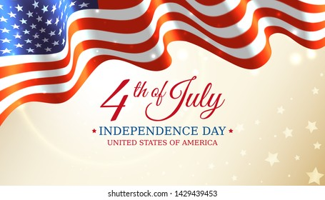 Poster 4th of july usa independence day, vector template with american flag and shining sun on golden shining starry background. Fourth of july, USA national holiday. Vector illustration, banner