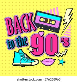 Poster 90s. Vector illustration