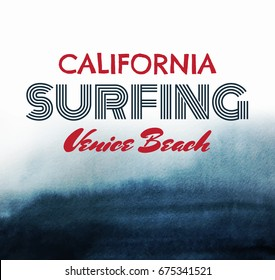 Poster about surfing.  Dark abstract  watercolor background with paper texture. Vector template for card,  banner, print for t-shirt.