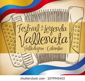 Poster with a accordion in hand drawn style and the flags of Colombia and Valledupar commemorating the Vallenato Legend Festival (written in Spanish).