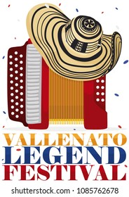 Poster with accordion and traditional vueltiao hat under a confetti shower to celebrate the Colombian Vallenato Legend Festival.
