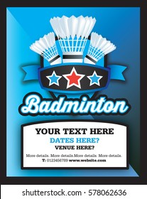 Poster Ad advertisement, marketing or promotion flyer for a badminton club or event