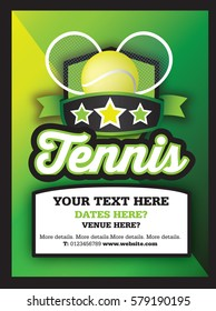 Poster Ad advertisement, marketing or promotion flyer for a tennis club or event