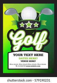 Poster Ad advertisement, marketing or promotion flyer for a golf club or event