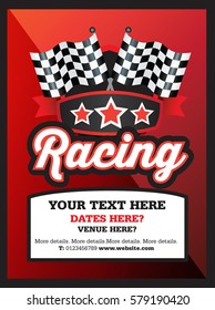 Poster Ad advertisement, marketing or promotion flyer for a motor sport racing club or event