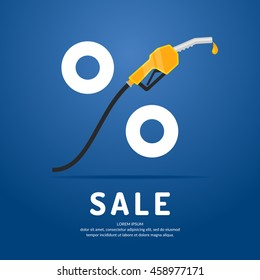 Poster advertising a Discount on fuel. Vector illustration.