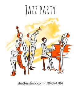 Poster or album cover for jazz band. A quartet in concert of jazz music. Vector illustration in sketch style, isolated on white background.