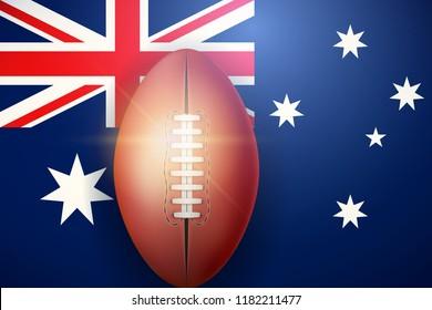 Poster of Australian football ball on Australian Flag Backgound. Football and Soccer Games. Sport equipment and teams. Vector Illustration