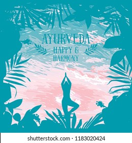 Poster for ayurveda and yoga with exotic frame and yoga human , can be used for yoga retreat or as tropical paradise welcome banner, vector illustration