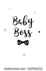 Poster baby boss black white room boy decor decoration wall