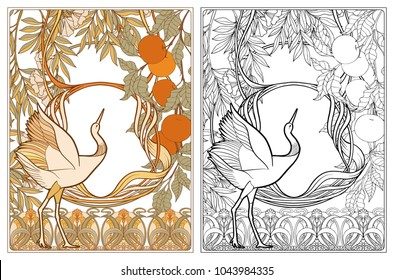 Poster, background with decorative flowers and bird in art nouveau style, vintage, old, retro style. Outline coloring page for the adult coloring book with colored sample Stock vector illustration.