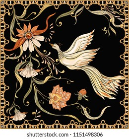 Poster, background with flowers and bird in art nouveau style, vintage, old, retro style. Stock vector illustration. On black background.