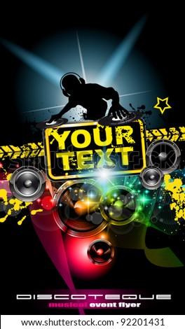Poster Background Music International Disco Event Stock Vektorgrafik