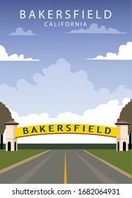 Poster Bakersfield landscape. Bakersfield vector illustration.