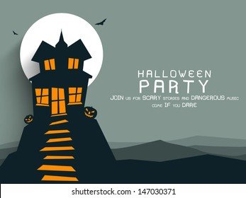 Poster, banner or background for Halloween Party night with haunted house.