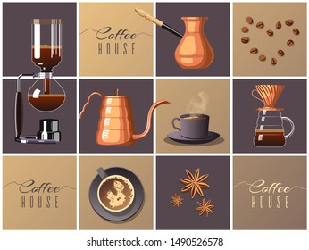 Poster or banner design for coffee house, brew bar. Pour-over, Turkish coffee, Syphon, Gooseneck kettle, coffee beans, star anise and cup of coffee. Vector illustration.