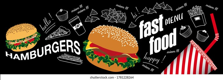 Poster or banner for fastfood with food in color and white line on a blackboard background.