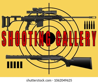 poster, banner shooting range, gallery, a sniper rifle and a rifle target on a yellow background. Vector Illustration