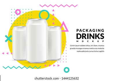 Poster or banner template. Aluminium white silver can 3d illustration, beer, water or other drinks advertising concept. Vector mockup layout design elements.