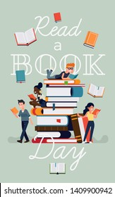 Poster or banner template on Reading Day with caption and flat style illustration of various people reading books sitting, lying and standing next to giant pile of books