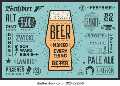 Poster or banner with text Beer Makes Everything Better and names types of beer. Colorful graphic design for print, web or advertising. Poster for bar, pub, restaurant, beer theme. Vector Illustration
