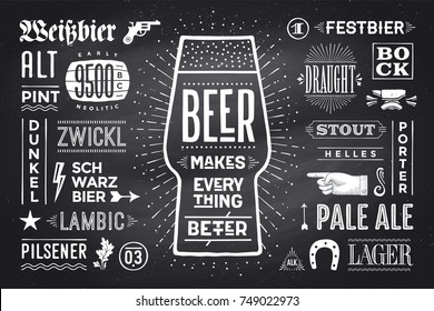 Poster or banner with text Beer Makes Everything Better and names types of beer. Black-white chalk graphic design on chalk board. Poster for menu, bar, pub, restaurant, beer theme. Vector Illustration